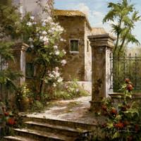 pinturas al óleo de oficina al por mayor-oficina arte de la pared Patio con flores paisajes mediterráneos pinturas al óleo pintadas a mano