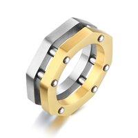männliche nagelringe großhandel-Stilvolle industrielle Art-Ringe für Männer geometrische Achteck-Form-Nagel-Verbindungs-Punk-männliches Band Rock Boy Anel