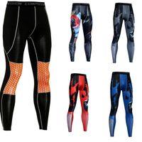 sıcak seksi spor kıyafeti toptan satış-Uzun Tozluklar Erkekler Sıcak Seksi Gym Sıkıştırma Spor Tayt Pantolon Koşu Spor Spor Pantolon Tayt Pantolon Running En kaliteli erkek
