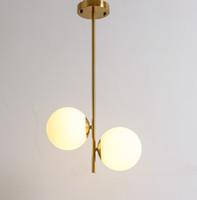 cam askılı ampuller toptan satış-Küre kolye lamba Metal Kaplama Altın Renk G9 Ampul Cam Topu Gölge Led Hanglamp Işık fikstür Residence Ev Led Kolye Işıkları