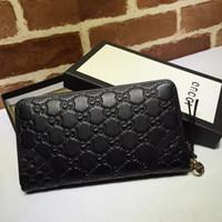 Wholesale lace styles photos resale online - 2019 Top Quality Celebrity design Letter embossing Zipper wallet Cards Pack Cowhide Leather Man Woman Long Purse Clutch