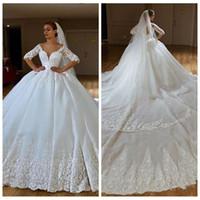 75db51ccf Off Shoulder Lace Appliques Ball Gown Wedding Dresses Beaded Formal Empire Waist  2019 Bridal Gowns Lace Up Back Garden Vestidos De Marriage