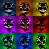 máscaras para dança venda por atacado-LED Máscara de Incandescência Festa de Halloween Fantasma Dança Máscara LED Halloween Cosplay Partido Brilhante Máscaras 9 Cores para Escolher HHA483