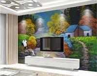 деревенская настенная живопись оптовых-3d обои на заказ фотообои европейская пасторальная деревня красивый пейзаж картина маслом фон фрески обои для стен 3 d