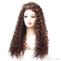 perucas ruivas cacheados crespos venda por atacado-Longo Curly Brown peruca sintética 33 Auburn alta temeperature Fiber Brown Cor Kinky Curly Glueless sintética rendas frente perucas Mulheres Preto Para