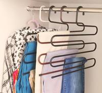 ingrosso cremagliera in ferro-Metal Magic Pants Hanger Rack in ferro tipo S multifunzione Salvaspazio Rack Jeans Sciarpa Tie Closet Tool