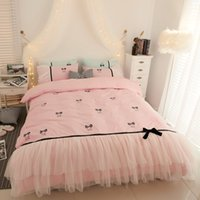 Wholesale twin size girl beds online - New Princess style pink green bed skirt duvet cover set cotton bedding sets twin queen king size girls kids bedding sets