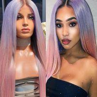 color mix cosplay perucas venda por atacado-2 Cores Gradiente Purplepink Longo Reta Partido das mulheres Cosplay Perucas de Cabelo Sintético Moda Mix cor Loira Natural Peruca Sintética Ha