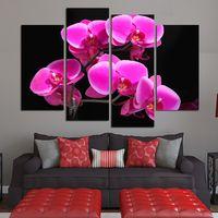 marcos digitales rosa al por mayor-Moderno Arte Imprimir Lienzo Cuadro Cuadro 4 Unidades / Pcs Flor Rosa Foto Pintura de Pared HD Sala de estar Decoración Modular Picture Poster
