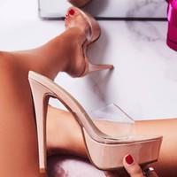 sandalias de plataforma desnuda de tacón alto al por mayor-Sexy desnudos trandparent negro claras tacones de lujo las mujeres del diseñador calza las sandalias de plataforma talones ultra altos 14cm de tamaño 34 a 40 viene con la caja
