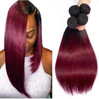 bordo ombre örgü toptan satış-Ombre İnsan Saç Paketler Ombre Perulu Saç Örgü Demetleri Düz Renkli 1b / bordo Düz Bakire saç