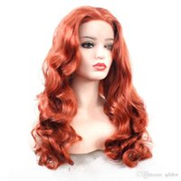 Wholesale wavy hand tied wigs for sale - Group buy Red Lace Front Wigs Synthetic Glueless Long Wavy Free Part Half Hand Tied Replacement Full Wigs For Women