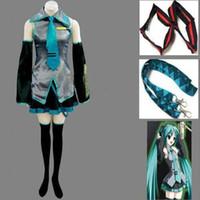 anime cosplay vocaloid kleider großhandel-Anime Vocaloid Hatsune Miku Cosplay Halloween Frauen Mädchen Kleid Full Set Uniform und viele Accessoires