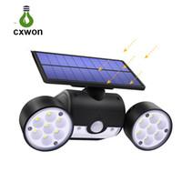 führte abgewinkelte scheinwerfer großhandel-Solar Sensor Wandleuchte 30 LEDs Dual Head Einstellbarer Winkel LED Gartenlampe für Path Gate Yard Solar Spotlight