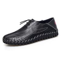 sapatos casuais de barco alto venda por atacado-dos homens sapatos casuais Moda Mens Mocassins Flats respirável Shoes Man alta qualidade do couro de barco Sapatos preguiçosos Condução