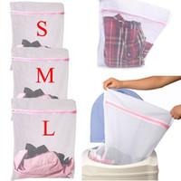 bolsa de lavandería con cremallera al por mayor-Bolsas de malla para el lavado de ropa Bolsas de malla con cremallera para el lavado Bolsas de malla de lavandería con red Almacenamiento de red S / M / L