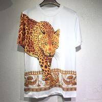 leopar desenli mens tişört toptan satış-19SS Yaz Yeni Marka casual Tee Erkek Leopar Baskı Erkek DesignerT Gömlek Erkekler Tops Moda Tee T-shirt Erkekler Hiphop Kısa Kollu Giyim