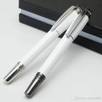 canetas de cristal branco venda por atacado-Luxo de Alta Qualidade De Metal Branco PVD-chapeado Rollerball pen / Caneta esferográfica com cristal escola canetas de escritório para a escrita