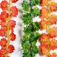rattan garden sets großhandel-12 teile / satz Künstliche Pflanzen Rot / Grün Ahornblatt Rattan Home Hochzeit Szene Party Decke Garten Dekoration Simulationsanlage