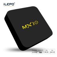 ingrosso casella uhd-Android 9.0 TV Box MX10 RAM da 4 GB 64 GB di rom Quad core RK3328 Smart TV Box 4K UHD streaming video Lettore multimediale