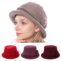 Wholesale flower knitted hats girl for sale - Group buy Lady Warm Winter Hat Knitted Fedoras Elegant Party Vintage Women Girls Flower Hemming Fedoras