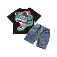 kindermodelle babykleidung großhandel-2019 Kinder Kleidung Explosion Modelle Sommer neue zweiteilige Junge Baby Kurzarm T-Shirt Denim Shorts Kinderanzug