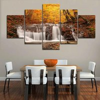 Wholesale waterfall pictures resale online - 5 Piece Framed Autumn Waterfall Landscape Wall Art Pictures for Kitchen Wall Decor Posters and Prints Canvas Painting