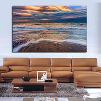 ingrosso dipinti ad olio onde del mare-1 Pezzo Spiaggia Tramonto Cielo Nuvole Sabbia Natura Mare Ocean Waves Pitture Murali Su Tela Pittura A Olio Pittura Murale No Frame