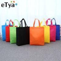 alışveriş torbası katlanabilir torba çantası toptan satış-eTya Portatif Katlanabilir Alışveriş Çantası Büyük Kadınlar Depolama Çanta Omuz Çantası Yeniden kullanılabilir Bez Kılıf Seyahat Organizatör Alışveriş Çantaları