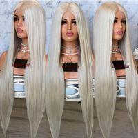 calidad del cabello kanekalon al por mayor-La alta calidad de simulación humana pelo rubio largo completo pelucas para las mujeres kanekalon recta sintética del frente del cordón preplucked rayita natural