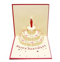 3d pop up cartões de bolo de aniversário venda por atacado-1 pcs Presente de Aniversário Bolo Cartão Pop Up 3D Cartões Com Envelope Cartão Postal Convite Origami Aniversário
