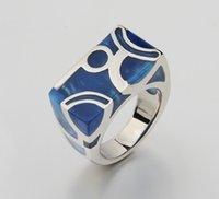 ingrosso anelli in titanio unici-Monili unici Water Cube Blue Ocean di alta qualità 316L acciaio di titanio di donne e uomini Anelli, Good Design anelli di barretta