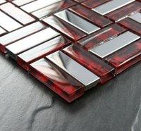 telhas de mosaico vermelho venda por atacado-Mosaico de vidro vermelho de prata do metal telha backsplash aço inoxidável SSMT021 Mosaico de vidro vermelho do banheiro de metal telha