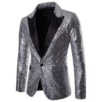 trajes más vendidos al por mayor-Best Selling 2019 spark Lentejuelas trajes para hombre Slim Fit Padrinos de boda Tuxedos de boda para hombre Blazers con muesca solapa traje de baile