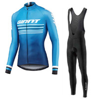 Wholesale giant mtb long sleeve jersey resale online - GIANT team Cycling long Sleeves jersey bib pants sets High Quality Men Bike Mtb Clothing maillot Ciclismo U91803