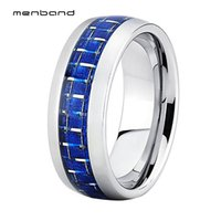 ingrosso bande blu di nozze di tungsteno-8mm argento Mens Womens Tungsten Wedding Band blu in fibra di carbonio intarsio a cupola lucido regalo anello per il giorno di San Valentino
