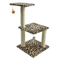 cuerda de la torre al por mayor-ANITA-M3 Multi-Level Cat Scratching Post 3 Level Cat Condo Tree House Tower con cuerda de sisal, bola de juguete de gato de ratón de pluma OEMODM
