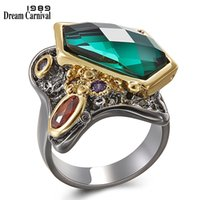 Wholesale fancy gold sets for sale - Group buy DreamCarnival Fancy Cut Zircon Ring for Women Wedding Party Multi Colors Stunning Fashion Jewelry Black Gold Rings WA11554