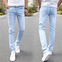 jeans de calidad para niños al por mayor-Hombres calientes de la venta Denim Jeans baratos Slim Fit Men Jeans Pantalones Stretch Light Blue Pantalones Alta calidad Casual Fashion Cow Boy Hombre