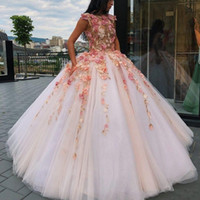 Wholesale water melon flowers ruffles quinceanera for sale - 2019 Super Floral Flowers Ball Gown Quinceanera Dresses Sweet Dress Prom Dresses Lace Appliques Puffy Princess Pageant Gowns BC1232