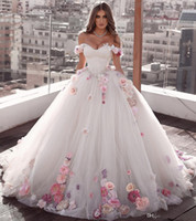 Wholesale luxurious beaded crystal dress resale online - Off Shoulder Flowers prom Ball Gown Beaded Quinceanera Dress Lace Up Back Luxurious Pleated Tulle Sweet Party Dresses