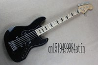 Wholesale custom made electric guitars online - Top Quality Factory Custom jazz Black String made in u s a Maple fingerboard electric Bass Guitar