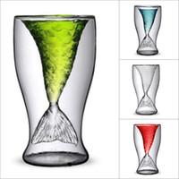 vasos de chupito de plástico al por mayor-Promoción 100 ml Creative Crystal Mermaid Tail Cup Vidrio transparente Cola de pescado Práctico Creative Wine Cup Vasos de vidrio resistente al calor
