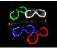 ledli flaş çerçevesi toptan satış-Floresan Parti Gözlük Çerçeveleri LED Flaş Parlak Göz Maskesi Kepenkler Flash Gözlük Noel Düğün Karnavalı Dance Bar Partisi Doğum 09