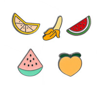 Wholesale peach gemstone resale online - Brooches Badge Fruits Banana Orange Peach Watermelon DIY Lapel Enamel Lapel Jewelry Badge Pins Bags Backpack Pins Accessories