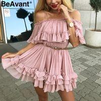 mini vestido de praia rosa venda por atacado-Beavant Fora Alça de Ombro Chiffon Vestidos de Verão Mulheres Plissado Curto Vestido Rosa Elegante Férias Solto Praia Mini Vestido J190509
