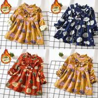 vestidos de flores de invierno bebé niñas al por mayor-Perimedes Winter Keep Warm Dresses For Girls Toddler Baby Kids Girls Grueso Floral Estampado de flores Princesa Vestido Ropa de abrigo