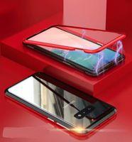 note cas magnétique achat en gros de-Coque arrière en verre trempé à adsorption magnétique pour Samsung Galaxy S10 S10 S10 Plus Note 9 S9 S9 Plus S8 Plus