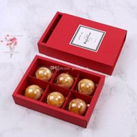 ingrosso scatola rossa della torta di cerimonia nuziale-Contenitore di regalo del partito di festival di cerimonia nuziale della scatola da imballaggio di carta della torta della luna di 6 griglie rosse