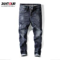 модная обувь корейский стиль мужчины оптовых-Jantour Fashion Brand 2019 New Elastic Thin cotton Men's Jeans Men's Korean Style Shoes mens ripped jeans man male